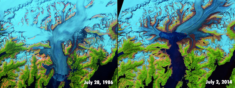 Alaska's Columbia Glacier before and after