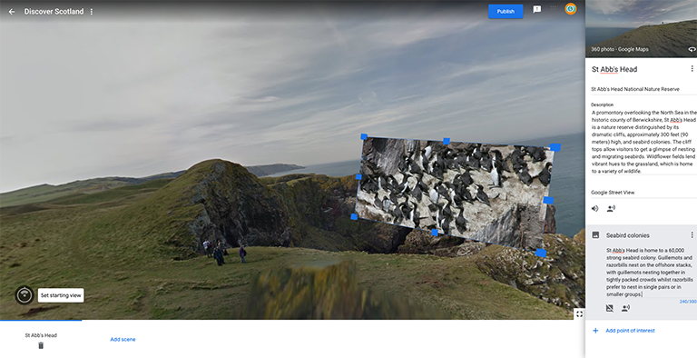 Google Tour Creator annotate your scene
