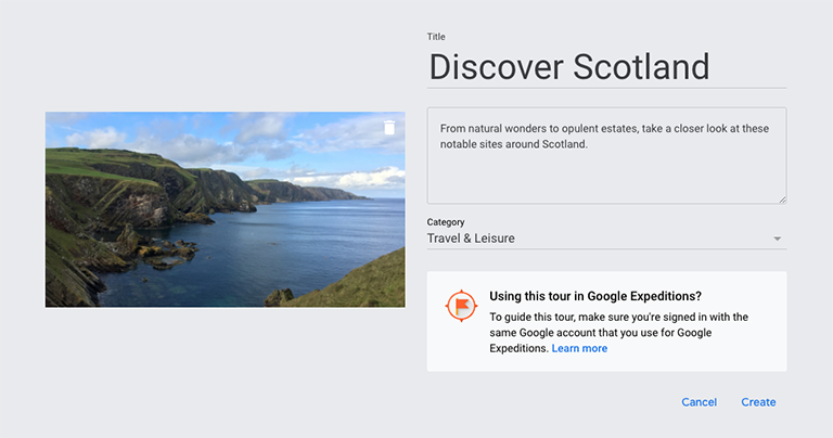 Google Tour Creator create a new Tour