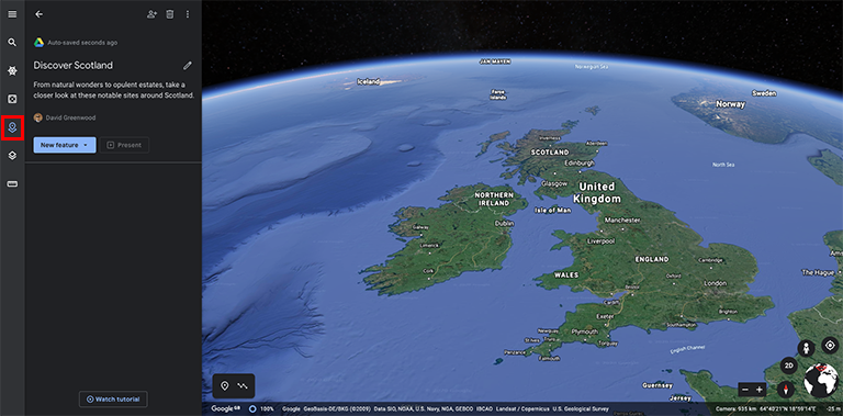 Google Earth create new Project