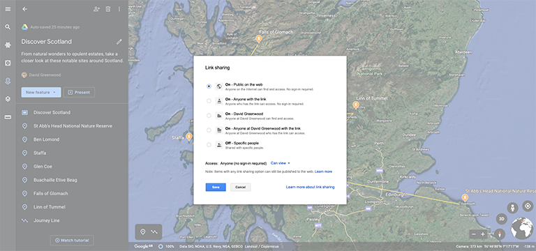Google Earth Project Sharing Settings